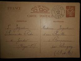 Niger Carte D Agadez  1940 Pour Pomponne - Niger (1921-1944)