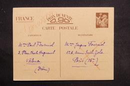 FRANCE - Entier Postal Type Iris De Valence Pour Paris En 1941 , Inadmis - L 31293 - Cartes Postales Types Et TSC (avant 1995)