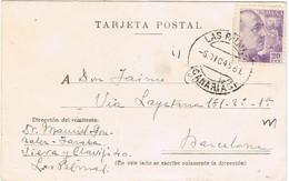 33017. Tarjeta LAS PALMAS 1947 A Barcxelona - 1931-50 Lettres