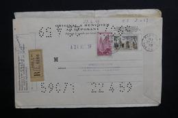 FRANCE - Timbres Perforés Sur Document Perforé En Recommandé De Paris En 1959 , à Bien Regarder - L 31299 - Perforés