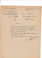 Courrier 1948 Vins Spiritueux Ets Coudoux, Chalette-sur-Loing (Loiret) - Alimentare