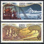 USSR Russia 1991 Bering Alaska Expedition Sailing Ships Map Maps Geograpy Explore Ship Transport Stamps Michel 6221-6222 - 1923-1991 UdSSR