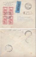 1953 REPUBBLICA TRIESTE A QUARTINA SU RACCOMANDATA - VINCI. - 1946-60: Marcophilia
