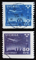 1930 SUEDE Yt PA4, PA5 , Junkers F-13 (with Skis) Over Stockholm  Oblitérés - Suède