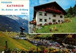 St. Anton Am Arlberg PENSION KATHREIN Umland Und Gondelbahn Ansicht 1990 - Autriche