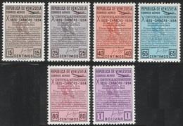 Venezuela 1954 - Sc C581-C586 - Bolivar Quate - MNH SET - CV $27.50 - Venezuela