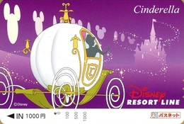 "Japan - Japanese Card DISNEY RESORT LINE. Carte DISNEY RESORT LINE Du Japon. ""Cendrillon"". - Disney"