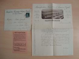 ENVELOPPE + DOCUMENTS MANUFACTURE FRANCAISE D'ARMES & CYCLES DE SAINT-ETIENNE 1906 - Marcofilie (Brieven)