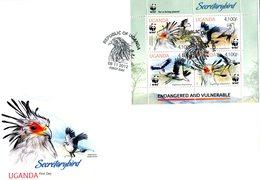 UGANDA 2012 WWF Secretary Bird(Sheet) Local Issue - FDC