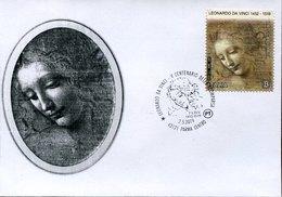 """45353 Italia, Fdc 2019 Painting Of Leonardo Da Vinci """"la Scapigliata"""" In The Gallery Museum Of Parma - Arte"""