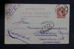 FRANCE - Entier Postal Type Semeuse De Strasbourg Pour L 'Allemagne En 1919 Avec Contrôle Postal Militaire - L 31327 - Cartes Postales Types Et TSC (avant 1995)