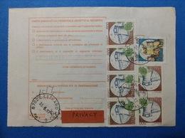 1987 STRISCIA DI 4 + COPPIA CASTELLO 500 + CASTELLO 50 SU BOLLETTINO PACCHI - 6. 1946-.. Repubblica