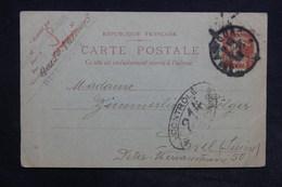 FRANCE - Entier Postal Type Semeuse De Strasbourg Pour La Suisse En 1919 Avec Contrôle Postal Militaire - L 31329 - Cartes Postales Types Et TSC (avant 1995)
