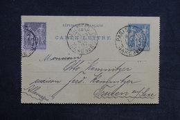 FRANCE - Entier Postal Type Sage + Complément De Paris Pour L 'Allemagne En 1897 - L 31335 - Postal Stamped Stationery