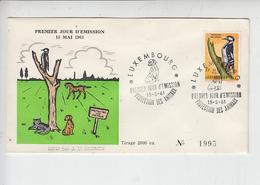 """LUSSEMBURGO  1961 - Annullo Speciale """"protezione Fauna"""" - Protezione Dell'Ambiente & Clima"""