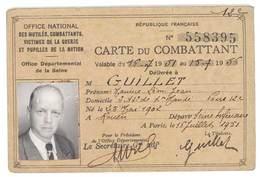 Carte Du Combattant, Mr Guillet , Croix Du Combattant, Office National Des Mutilés, ... - Documentos Antiguos