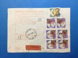 1990 QUARTINA + COPPIA CASTELLO 700 + CASTELLO 50 SU BOLLETTINO PACCHI - 6. 1946-.. Republic