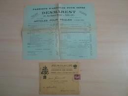 ENVELOPPE + DOCUMENT  DESMAREST ARTICLES POUR FETES PARIS 1929 - Marcophilie (Lettres)