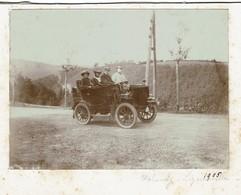 Automobilia - 1905 - Photo Originale 11 Cm X 8 Cm - Auto à Identifier - Sur La Route Malmedy - Ligeuville - 2 Scans - Automobiles