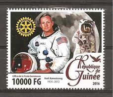 GUINEA - 2016 ROTARY Rotariani Famosi: NEIL ARMSTRONG Astronauta  Nuovo** MNH - Rotary, Lions Club