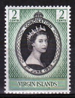 British Virgin Islands 1953 Queen Elizabeth Single 2 Cent Stamp Celebrating The Coronation. - British Virgin Islands