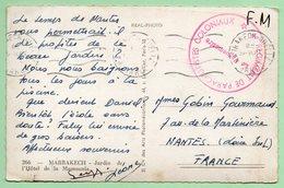 """CACHET MILITAIRE  """"6e REGIMENT DE PARACHUTISTES COLONIAUX"""" - Marrakech Gueliz - - Postmark Collection (Covers)"""