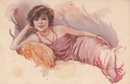 Terzi Italian Art Deco Beautiful Lady W Necklace Old Postcard 1923 - Künstlerkarten