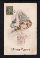 Illustrateur Dessin Non Signé (?) Genre Viennoise ? à Identifier / Fantaisie,femme,fleurs,ELD - Illustrateurs & Photographes