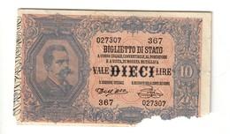 10 Lire Dell'ara Pia 06 08 1889 R4 RRRR Parti Mancanti Ma Carta Molto Fresca  LOTTO 2529 - Italia – 10 Lire
