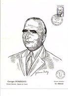 DOCUMENT ENCART GEORGES POMPIDOU 1975 - Storia Postale