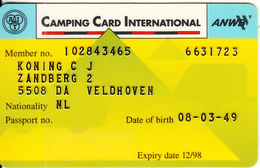NETHERLANDS - Camping Card International, Member Card, Exp.date 12/98, Used - Unclassified