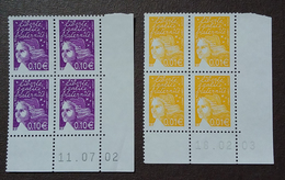 France, Marianne Du 14 Juillet, 2 Coins Datés N° Yvert 3443 Et 3446. - 1990-1999