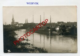 WERVIK-Wervicq-Canal-Peniches-PHOTO Allemande Comme CP-Guerre 14-18-1WK-BELGIQUE-BELGIEN-Flandern - Wervik