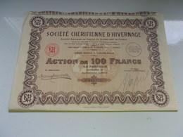 CHERIFIENNE D'HIVERNAGE (1928) CASABLANCA , MAROC - Actions & Titres