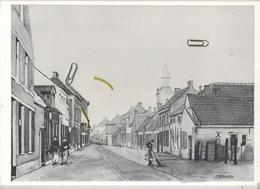 BUGGENHOUT : F. Brouwers (prent 29.5 X 21 Cm) Kerkstraat , Zuiden Rond De Eeuwwisseling ( Paul Van Malderen ) 2 Scans - Vieux Papiers