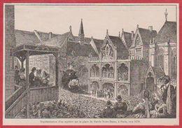 Représentation D'un Mystère Sur Le Parvis De Notre Dame De Paris, Vers 1470. Illustation Dessertenne. Larousse 1920 - Vieux Papiers