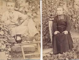"""2 Photos Portrait D'un Jeune Prêtre - Curé - Photo En Soutane Et En  """"civil"""" (Ca 1910) - Old (before 1900)"""