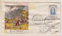 9/4 Premier Jour FDC 1956 FRANKLIN Dans Pochette Legeres Pliures - 1950-1959