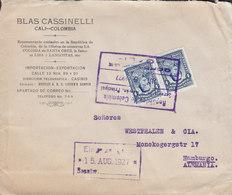 Colombia BLAS CASSINELLI, CALI 1927 Cover Letra HAMBURG Germany 2x Santander Stamps (Pair, Paare) - Kolumbien