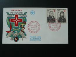 FDC Croix Rouge Red Cross Larrey Corvisart Napoléon Réunion Surchargé CFA 1964 - Red Cross