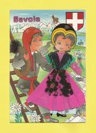 Carte Postale Brodée  Costume Régionnal  De La  Savoie Avec écusson  Et Montagne Des Alpes Carte Neuve Signée Léb - Costumes