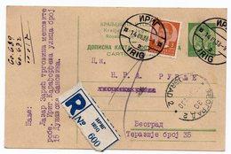 1938 YUGOSLAVIA, SERBIA, IRIG TO BELGRADE, RECORDED, ADDITIONAL 3 DIN STAMP, POSTAL STATIONERY, USED - Postal Stationery