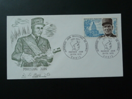 FDC Burin D'Or Gravure Engraving Maréchal Juin 1970 - Guerre Mondiale (Première)
