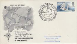 Enveloppe  FDC  1er  Jour   GRANDE  BRETAGNE   Tour  Du  Monde  à  La  Voile  Sir  Francis  CHICHESTER   1967 - Voile