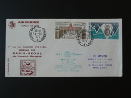 Lettre Premier Vol First Flight Cover Paris Seoul Korea Boeing 707 Cargo Pelican Air France 1974 (ex 1) - First Flight Covers