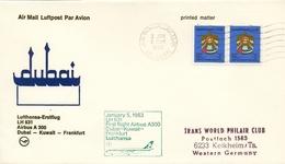1983 , EMIRATOS ÁRABES UNIDOS , PRIMER VUELO / FIRST FLIGHT , DUBAI - KUWAIT - FRANKFURT - Emiratos Árabes Unidos