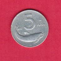 ITALY  5 LIRE 1954 (KM # 92) #5256 - 1946-… : Republic