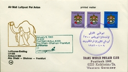 1983 , EMIRATOS ÁRABES UNIDOS , PRIMER VUELO / FIRST FLIGHT , ABU DHABI - DHAHRAN - FRANKFURT - Emiratos Árabes Unidos