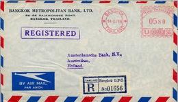 1958 , TAILANDIA / THAILAND , SOBRE CERTIFICADO BANGKOK - AMSTERDAM , FRANQUEO MECÁNICO - Tailandia