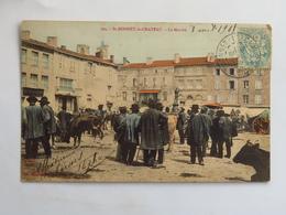 C.P.A. Couleur : 42 SAINT-BONNET LE CHATEAU : Le Marché, Animé, Timbre En 1905 - Other Municipalities